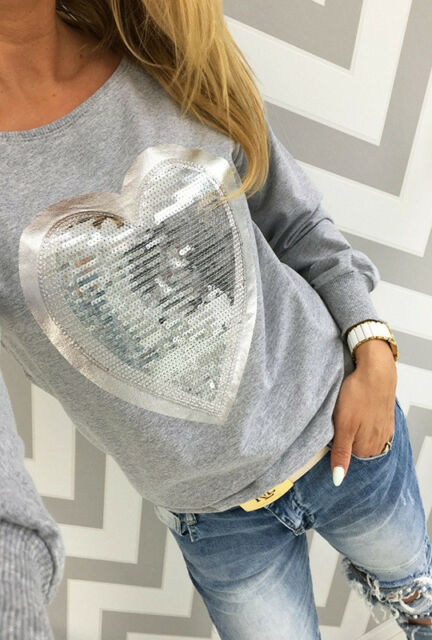 Womens Big Sequin Heart 2016 Hot Sweatshirts Long Sleeve Blouse Hoodie Shirt Top