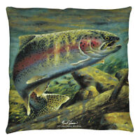 Wild Wings Rainbow Trout Decorative Throw Pillow Bedroom Couch 2 Sided