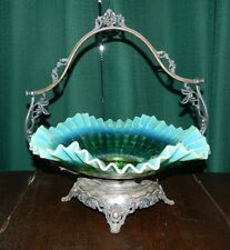 Victorian Silver Plated Footed Brides Basket With Fluted Blue Bowl