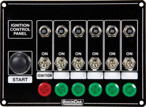 Quickcar Switch Panel Dash Mount With Toggles Lights And Circuit Breakers