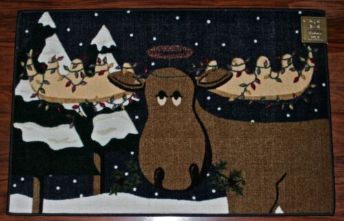30X46 Merry Christmas Reindeer Moose Lights Navy Brown Snow Rug Washable Mat