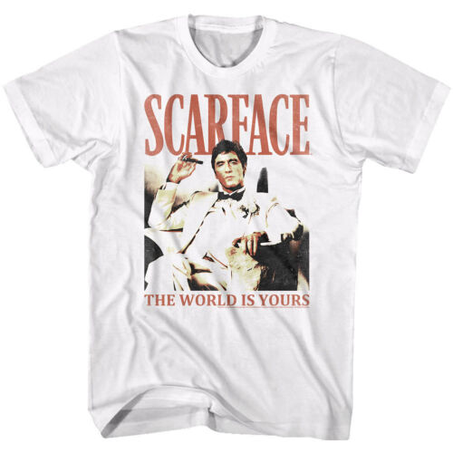 Scarface Tony Montana World is Yours Mens T Shirt White Black Pacino Mafia Movie