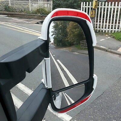 Long Arm White Mirror Protectors with Reflectors Fiat Ducato Peugeot Citroen