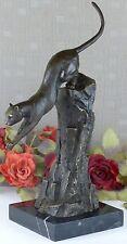 Leopard Bronze Panther Bronzefigur Katze Bronzeskulptur Figur Statue Deko Puma