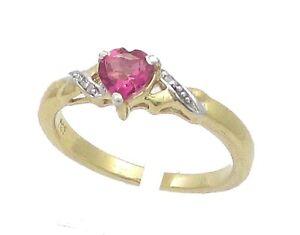 14-000-Argento-Placcato-in-Oro-a-Forma-di-Cuore-Rosa-Topazio-amp-Diamante-Anello-di-fidanzamento