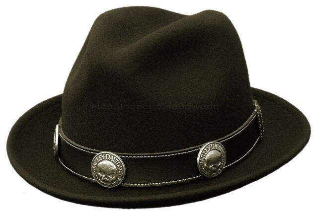 HARLEY DAVIDSON WOOL FELT FEDORA TRILBY BLACK SKULL STINGY HAT MOTORCYCLE CAP