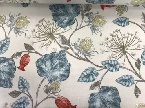 Parchment Wedgwood Blue//Grey English Designed Printed Cotton CurtainFabric