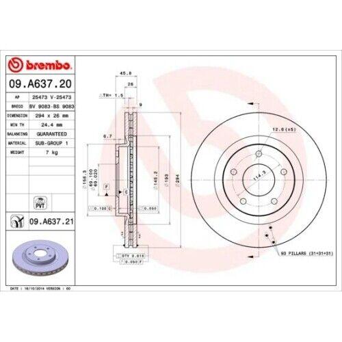 2 Bremsscheibe BREMBO 09.A637.21 COATED DISC LINE passend für CITROËN PEUGEOT