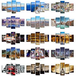Quadri-moderni-Citta-Stampa-su-tela-canvas-Quadro-5-pezzi-cm-166x90-Cucina-casa