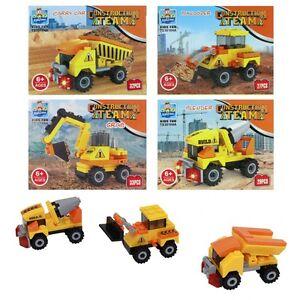 Baufahrzeuge-Set-Bausatz-Bausteine-Bagger-Kran-Kipper-Betonmischer-Baustelle-NEU