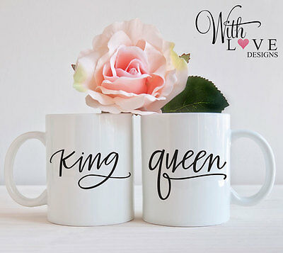 SET OF 2 MUGS PERSONALISED KING QUEEN COUPLES HIS HERS MUG CUP PRESENT GIFT