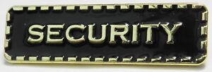 Security-Lapel-Pin-Badge-Black-amp-Gold-Colour-Sign-Brooch