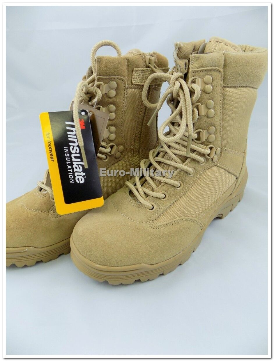 Military Tactical Side Zip Army Police Combat Mens Boots Desert Khaki Brand New