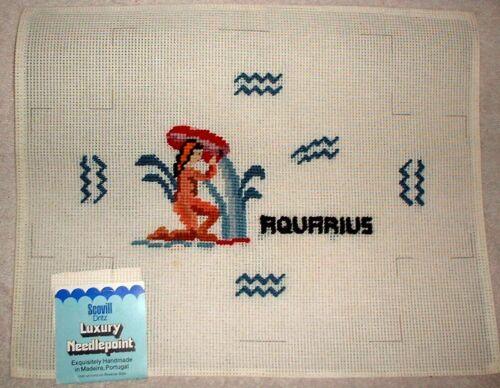 EP 3154 Dritz Preworked Needlepoint Canvas Zodiac Aquarius Brick Cover
