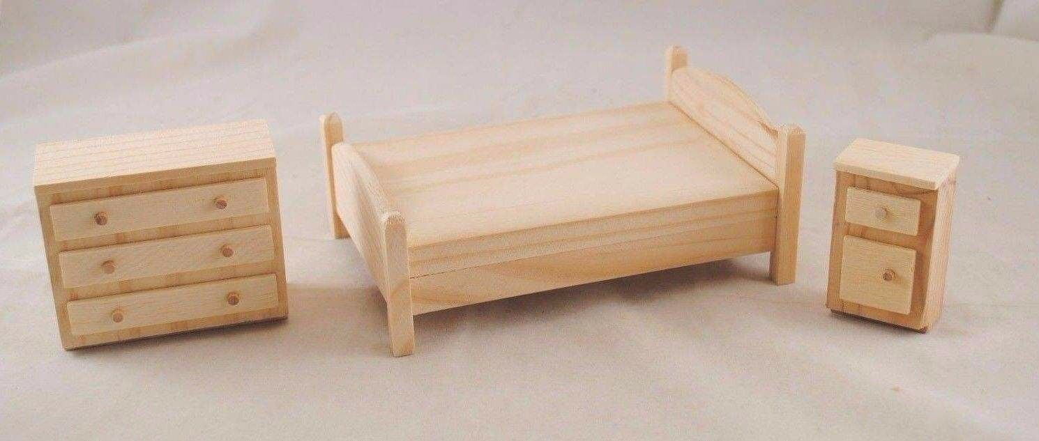Furniture Sets Unfinished Wood T7005 dollhouse miniature 20pc 1 12 scale