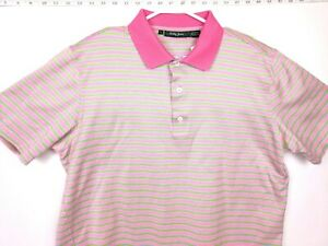 Mens-Bobby-Jones-Polo-Shirt-Collar-Large-Cotton-Pink-Blue-Striped-Golf-Button
