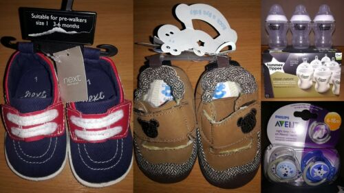 Baby Bundle:Tommee Tippee Feeding 3 Bottles 2 Avent Soother Pacifier Dummy Shoe
