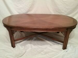 Details About Vintage Lane Mid Century Chinese Chippendale Oval Coffee Table Walnut Mahogany