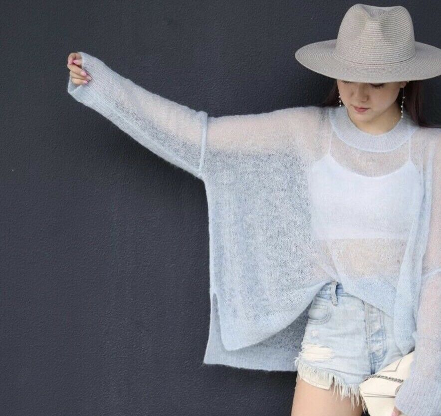 278 Boutique Ice bluee Oversized  Mohair Sweater 41ec30