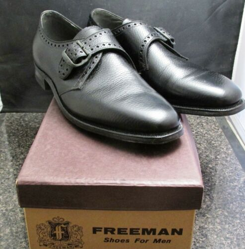 VTG 60s 70s FREEMAN Mens Black Pebble Leather Shoe