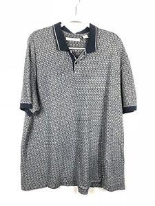 Robert-Stock-Polo-Blue-Abstract-Print-Mens-Shirt-Size-XL