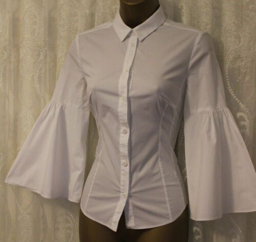 12 Sleeve Cotton Bell 8 Karen Millen Shirt White Tailored Casual Fit Stretch To q7wEptWE