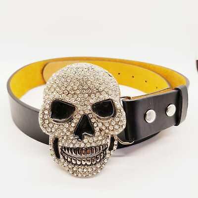 Golden Skull Crown Gilt Bling Belt Diamante Buckle Punk Rock Gothic