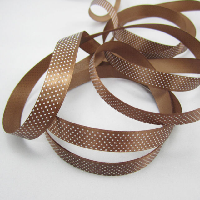 "5 Yards 5/8"" 15mm Width coffee Color Printed Polka Dot Grosgrain Ribbon Roll #1"