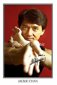 JACKIE CHAN LARGE SIGNED AUTOGRAPH PHOTO PRINT POSTER, LOOKS GREAT FRAMED!!