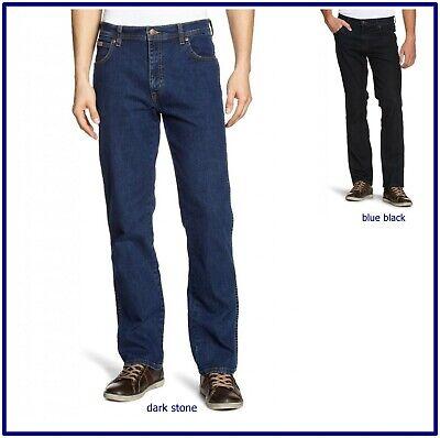 Da Uomo Wrangler Texas Stretch Jeans Gamba Dritta Blu Nero Tutte le Taglie