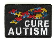 """(H45) CURE AUTISM PUZZLE PIECES RIBBON 2.75"""" x 2"""" iron on patch (4313)"""