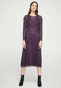 New-Stunning-Mango-Purple-Floral-Roma-A-Dress-Casual-Stylish-Fashion-Clothing