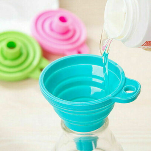 Mini Silicone Gel Foldable Funnel Hopper Collapsible Style Kitchen Tool Cooking