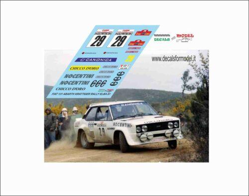 DECALS FIAT 131 ABARTH KRATTIGER RALLY ELBA 1982