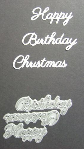 Cardmaking Happy Birthday Christmas Word Set Britannia Dies