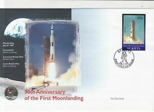 st kitts 30th anniversary moon landing stamps cover 1999 ref 19479