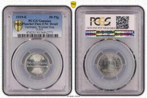 Weimar Rep.50 Pfennig 1919E PCGS Genuine - UNC Details (93 - Planchett Flaw)