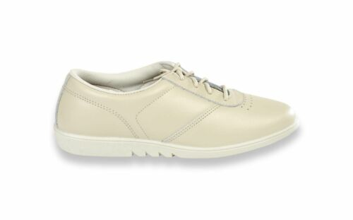 Ladies Comfort Lace Up Walker Leather Casual Work White Washable Black Shoes