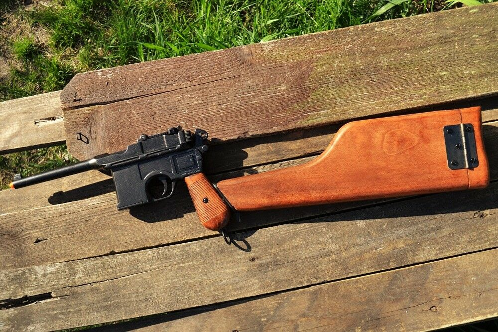 Details about German 1896 Mauser C96 Broomhandle Pistol - Wooden Stock  Holster - Denix Replica