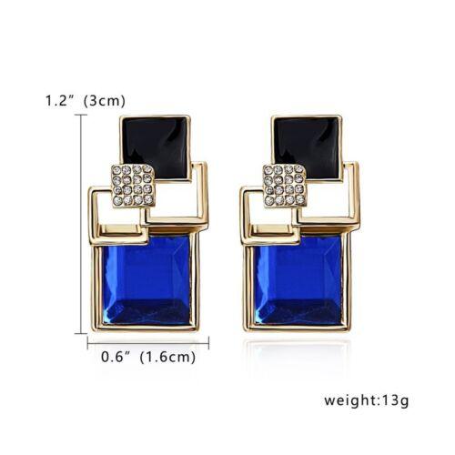 1 par Moda Cristal Aretes Pendientes Geométrico Cuadrado para Mujer Boda Joyas
