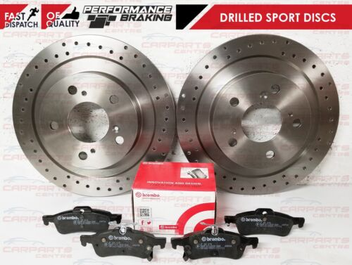 FOR HONDA CIVIC FK TYPE R 2015 REAR PERFORMANCE DRILLED DISCS BREMBO BRAKE PADS