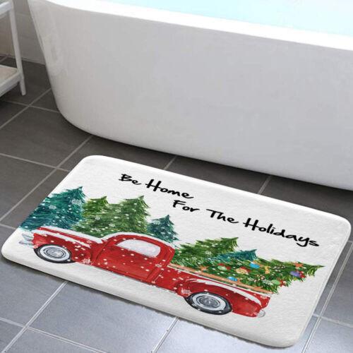 Christmas Tree Truck Shower Curtain Toilet Cover Rug Bath Mat Contour Rug Set
