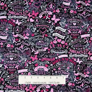 Details About Breast Cancer Awareness Fabric Word Ribbon Chalkboard Timeless Treasures 22