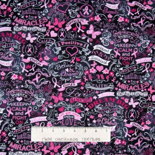 Word Ribbon Chalkboard Timeless Treasures YARD Breast Cancer Awareness Fabric