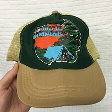 "VTG Old school trucker cap ""I'd rather be camping"" Tan/Green Hat mesh snap back"