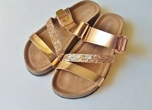 Gold Slider Sandals Size 6 Buckle Metallic Flip Flop Footbed Faux Leather