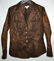 NEW Coldwater Creek Brown & Gold Metallic Womens Fitted Blazer Jacket Sz 8 NWOT