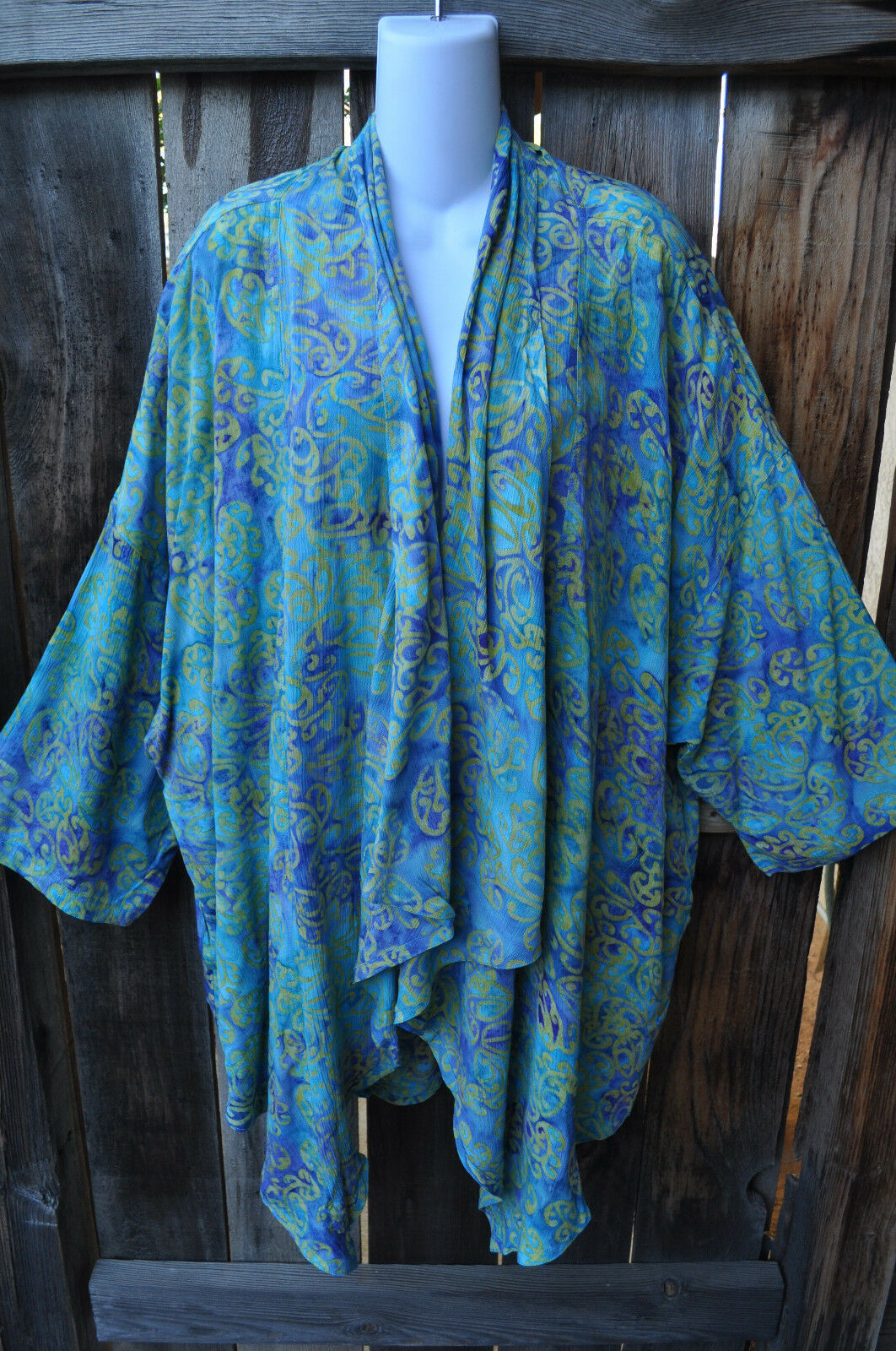 MISSION CANYON ART TO WEAR 51 SHORT KIMONO DUSTER IN ALL NEW BEACHGLASS, OS+
