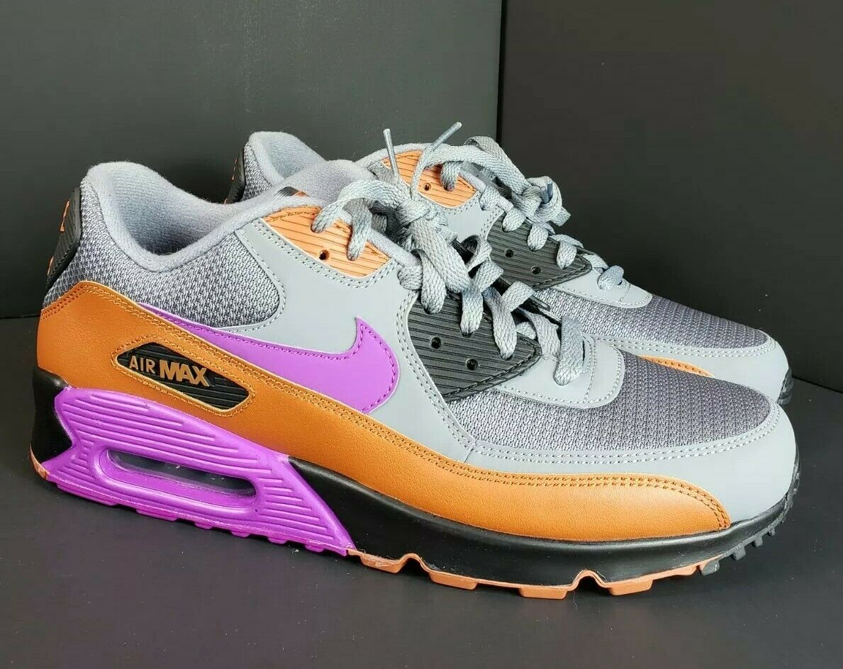 Men's Nike Air Max 90 Essential AJ1285-013 Size 10.5 Grey Purple and Rust