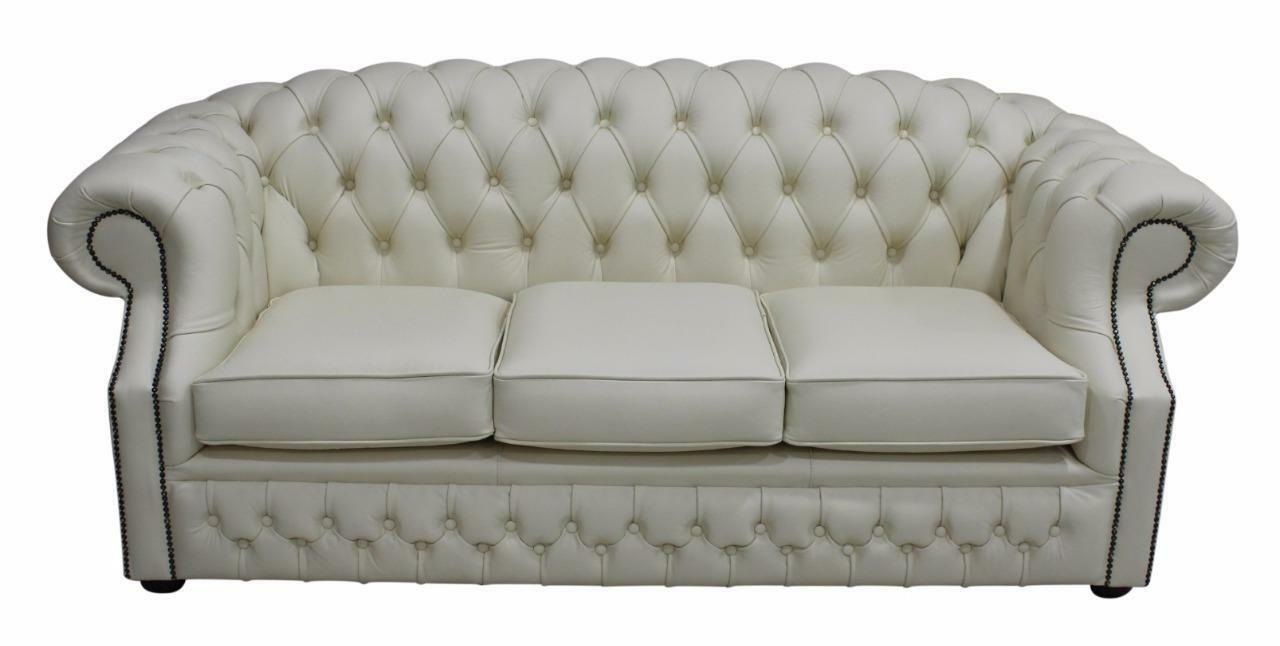 Chesterfield Buckingham 3 Seater Cream Leather Sofa Settee Ebay